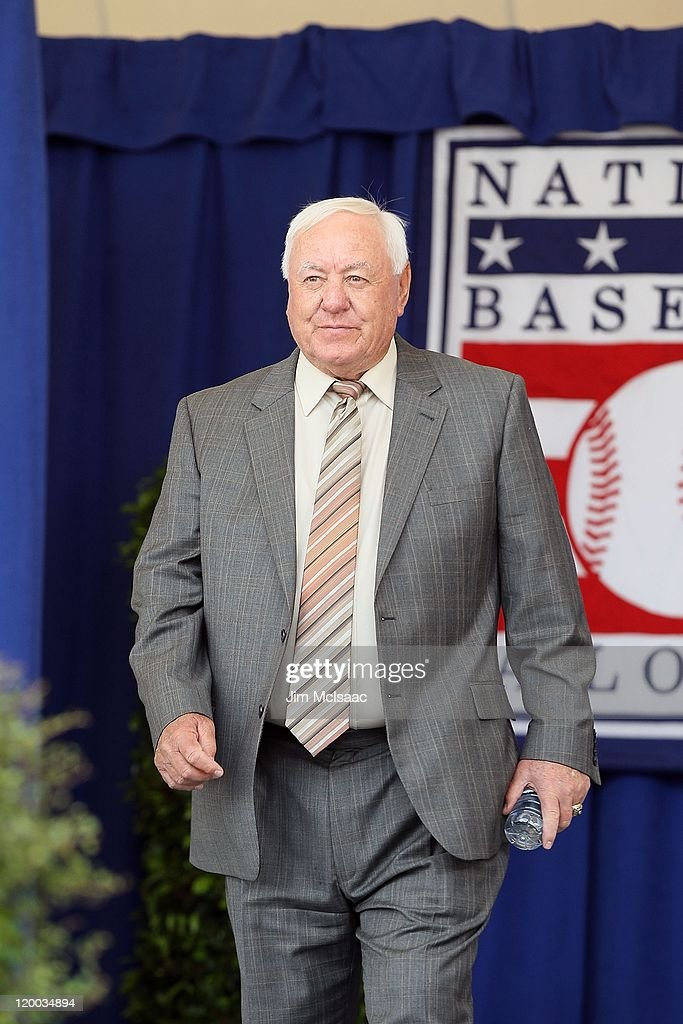 Hall of Famer Bill Mazeroski is introduced at Clark Sports Center during the Baseball Hall of Fame induction ceremony on July 24, 2011 in Cooperstown, New York.
