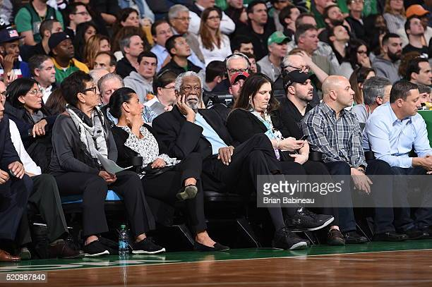 Hall of Famer Bill Russell watches the game between the Miami Heat and Boston Celtics on April 13 2016 at the TD Garden in Boston Massachusetts NOTE...