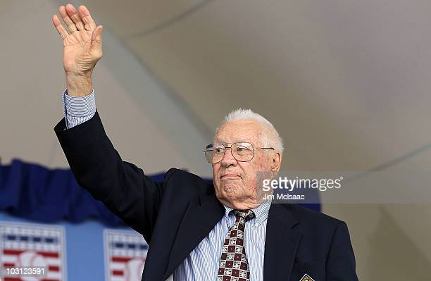 Hall of Famer Bob Feller attends the Baseball Hall of Fame induction ceremony at Clark Sports Center on July 25 20010 in Cooperstown New York