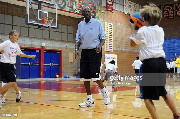 Hall of Famer Bob Lanier participates in the Jr NBA/Jr WNBA basketball camp on July 24 2008 at the Centennial High School campus in Peoria Arizona...