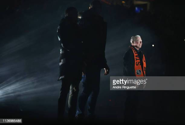 Hall of Famer Bobby Clarke is introduced before the 2019 Coors Light NHL Stadium Series game between the Pittsburgh Penguins and the Philadelphia...