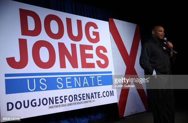 Hall of Famer Charles Barkley speaks during a get out the vote campaign rally for democratic Senatorial candidate Doug Jones on December 11 2017 in...