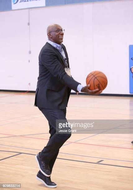 NBA hall of famer Clyde Drexler during a Facebook Live session at SXSW held at Austin Recreation Center on March 9 2018 in Austin Texas