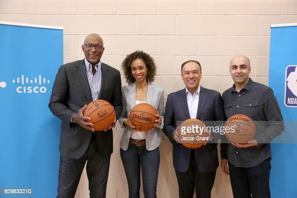 NBA hall of famer Clyde Drexler TV personality Sage Steele NBA Deputy Commissioner and Chief Operating Officer Mark Tatum and Cisco Chief...