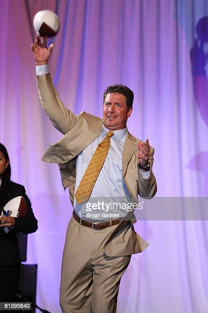 Hall of Famer Dan Marino throws a football at the 7th annual Samsung Four Seasons of Hope gala on June 16 2008 at Cipriani Wall Street in New York...