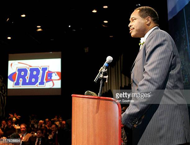 Hall of Famer Dave Winfield speaks to guests during the RBI Dinner at the Globe Theatre Universal Studios Hollywood Theme Park Reviving Baseball in...