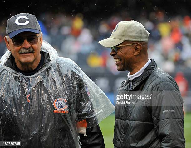 Hall of Famer Dick Butkus and Gayle Sayers before the game between the Chicago Bears and the Minnesota Vikings on September 15 2013 at Soldier Field...