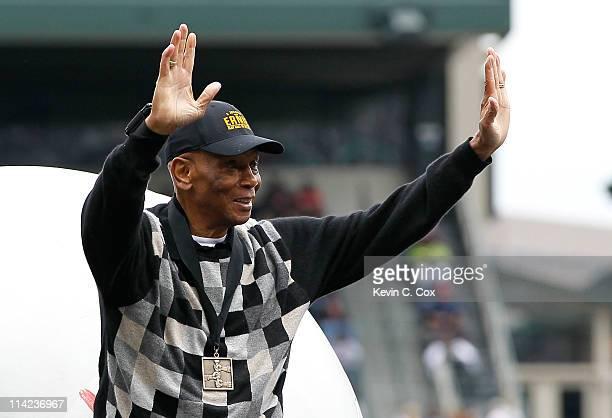 Hall of Famer Ernie Banks before the MLB Civil Rights game between the Atlanta Braves and the Philadelphia Phillies at Turner Field on May 15 2011 in...