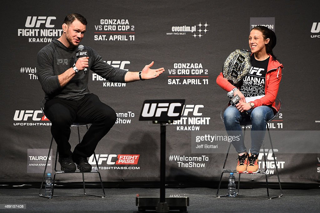 UFC hall of famer Forrest Griffin (L) and UFC Women's Strawweight Champion Joanna Jedrzejczyk interact with fans during a Q&A session before UFC Fight Night Weigh-ins at the Tauron Arena on April 10, 2015 in Krakow, Poland.