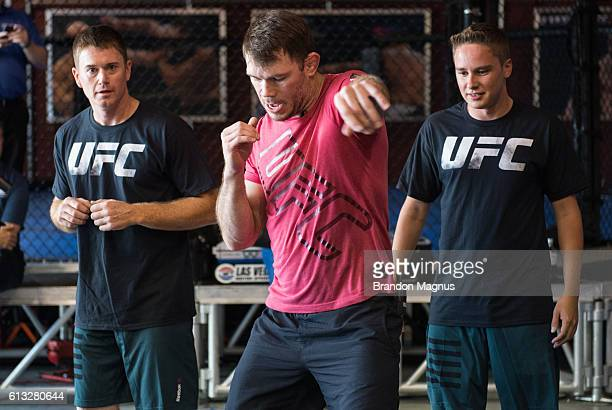 Hall of Famer Forrest Griffin helps train NASCAR drivers during a workout at the TUF Gym on September 30, 2016 in Las Vegas, Nevada.