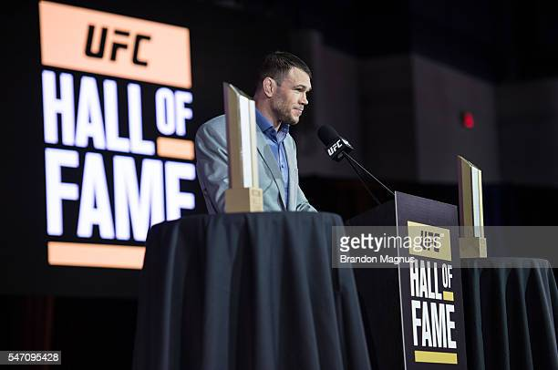 Hall of Famer Forrest Griffin introduces the new inductees for the UFC Hall of Fame at the Las Vegas Convention Center on July 10, 2016 in Las Vegas,...