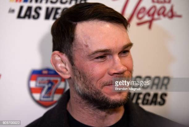 Hall of Famer Forrest Griffin speaks to the media during the Ultimate Sports Weekend Pep Rally at Toshiba Plaza on February 28, 2018 in Las Vegas,...