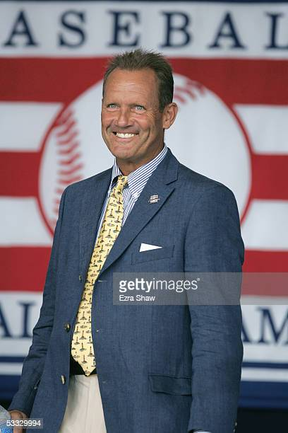 Hall of Famer George Brett attends the Baseball Hall of Fame Induction ceremony on July 31, 2005 at the Clark Sports Complex in Cooperstown, New York.