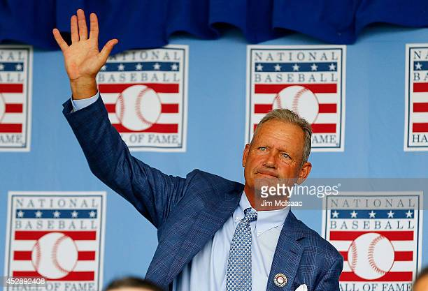 Hall of Famer George Brett is introduced during the Baseball Hall of Fame induction ceremony at Clark Sports Center on July 27 2014 in Cooperstown...