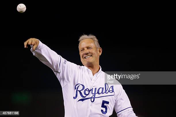 Hall of Famer George Brett throws out the ceremonial first pitch before Game Two of the 2014 World Series between the Kansas City Royals and the San...