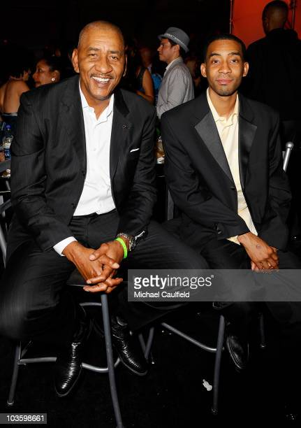 NBA Hall of Famer George Gervin and son George Gervin Jr attend the after party for the 2008 ESPY Awards on July 16 2008 in Los Angeles California