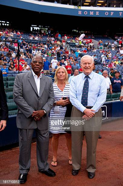 Hall of Famer Hank Aaron and Chairman Emeritus for the Atlanta Braves Bill Bartholomay look on before the Delta Civil Rights Game between the Los...