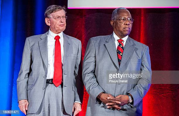 Hall of Famer Hank Aaron and MLB commissioner Bud Selig honor Bill Bartholomay for 50 Years in Baseball at the 2012 MLB Beacon Awards Luncheon...