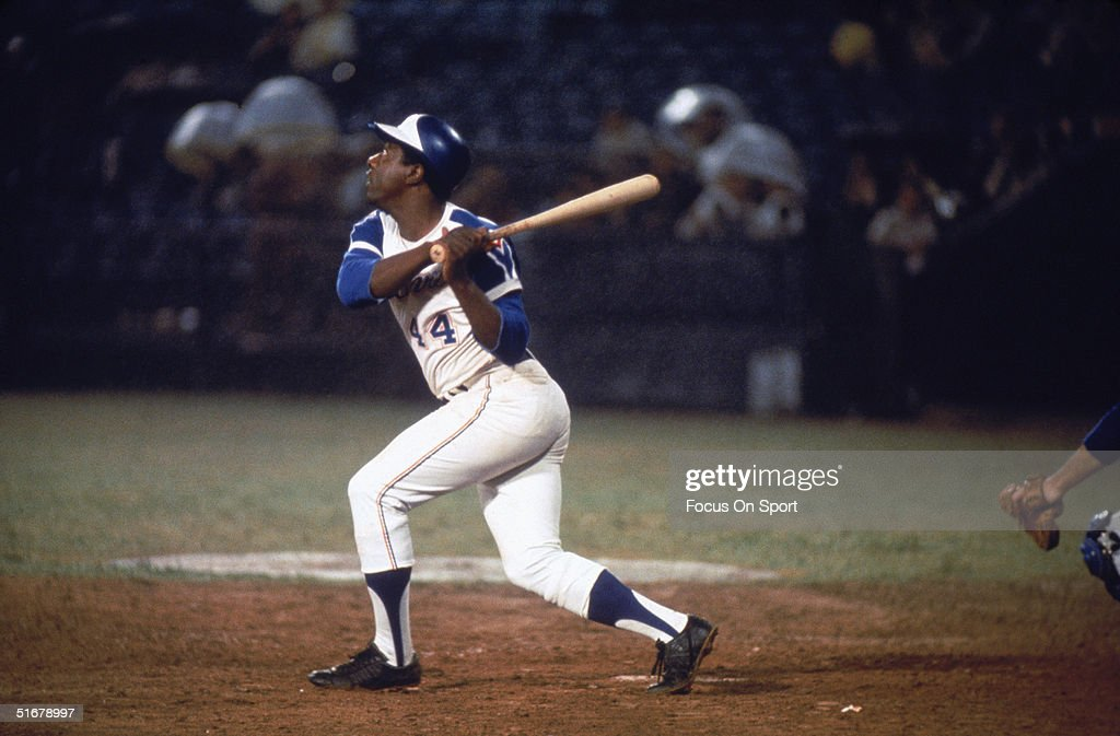 Hall of famer Hank Aaron of the Atlanta Braves swings at the ball.