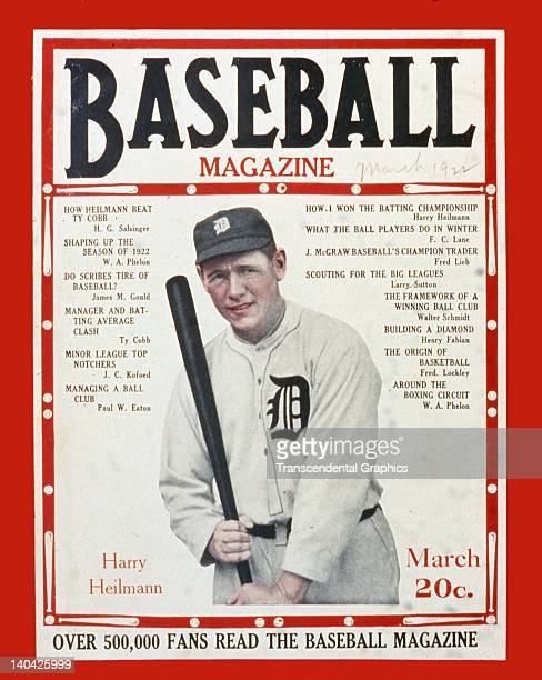 Hall of Famer Harry Heilmann is the cover boy for Baseball Magazine published in New Yorki City in March of 1922