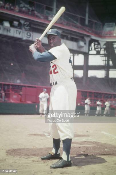 Hall of famer Jackie Robinson of the Brooklyn Dodgers poses for the camera at Ebbits Field during the 1950s in Brooklyn, New York.