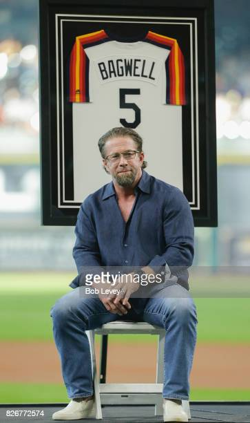 Hall of Famer Jeff Bagwell speaks to the fans during a pregame ceremony celebrating his induction into the National Baseball Hall of Fame before...