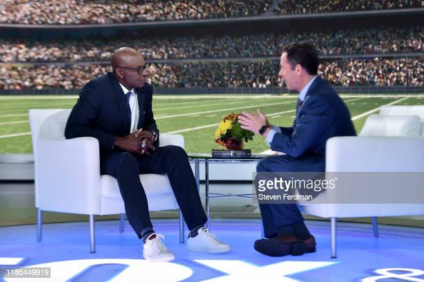"""Hall of famer Jerry Rice visits """"Fox & Friends"""" at Fox News Channel Studios on November 04, 2019 in New York City."""