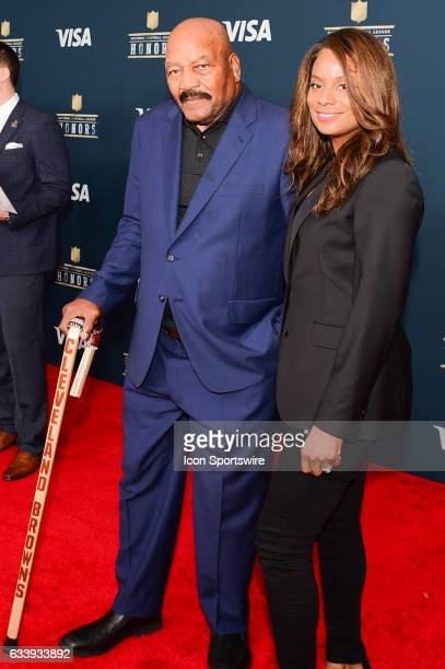 Hall of Famer Jim Brown and his wife on the Red Carpet during the NFL Honors Red Carpet on February 4, 2017 at the Worthan Theater Center, Houston,...