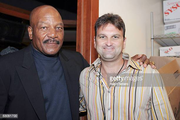 "Hall of Famer Jim Brown poses for photos with Sports Agent Drew Rosenhaus during the Jim Brown ""Legends"" Event at the Park Sports Club at Seminole..."