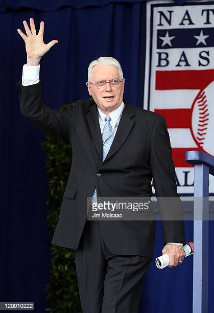 Hall of Famer Jim Bunning at Clark Sports Center during the Baseball Hall of Fame induction ceremony on July 24 2011 in Cooperstown New York