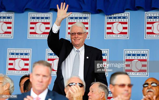 Hall of Famer Jim Bunning is introduced during the Baseball Hall of Fame induction ceremony at Clark Sports Center on July 27 2014 in Cooperstown New...