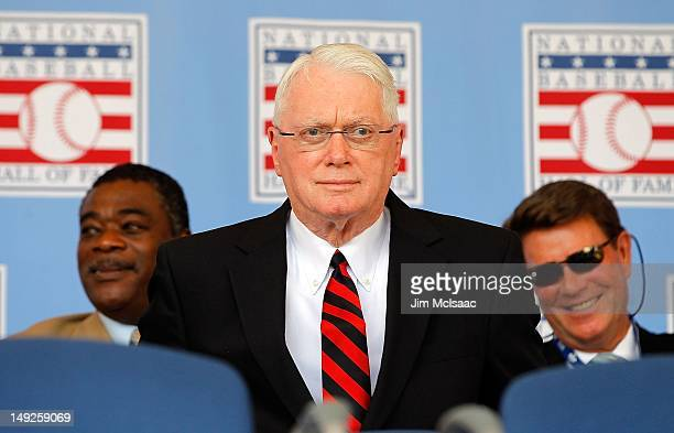Hall of Famer Jim Bunning looks on at Clark Sports Center during the Baseball Hall of Fame induction ceremony on July 22 2012 in Cooperstown New York