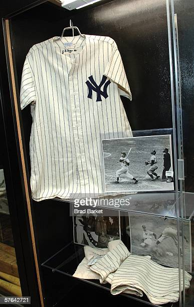 Hall of Famer Joe DiMaggio's New York Yankees final game worn home uniform from the 1951 World Series is displayed at the Marriott Marquis in Times...