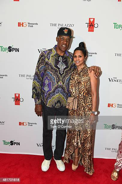 NBA hall of famer Julius Erving and wife Dorys Erving during the 2015 Top Spin Celebrity Ping Pong Tournament hosted by Los Angeles Clipper Chris...