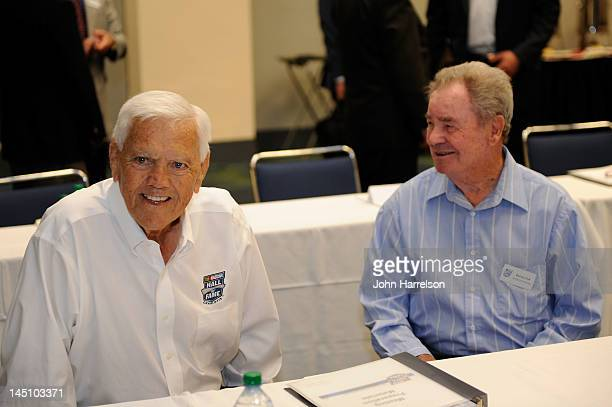 Hall of famer Junior Johnson and Barney Hall attend Voting Day at the NASCAR Hall of Fame on May 23 2012 in Charlotte North Carolina