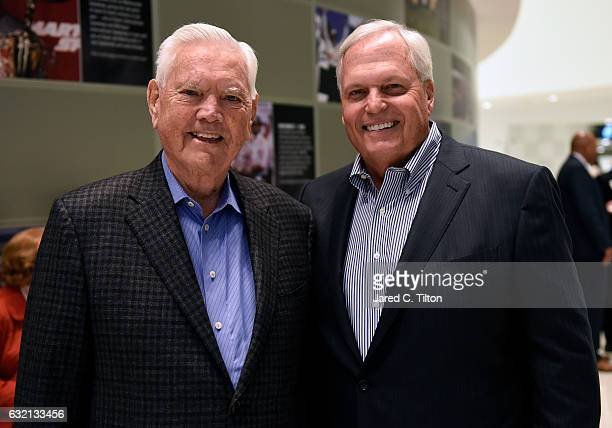 Hall of Famer Junior Johnson and NASCAR Hall of Fame inductee Rick Hendrick pose for a photo prior to the NASCAR Hall of Fame Class of 2017 Welcome...