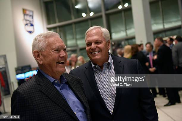 Hall of Famer Junior Johnson and NASCAR Hall of Fame inductee Rick Hendrick share a laugh prior to the NASCAR Hall of Fame Class of 2017 Welcome...