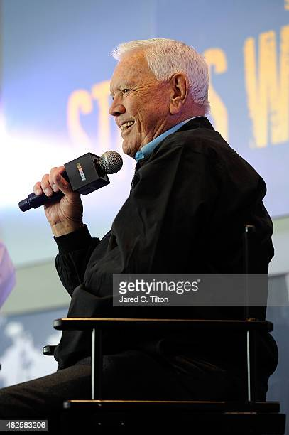 Hall of Famer Junior Johnson shares stories with the fans during the NASCAR Fan Appreciation Day at the NASCAR Hall of Fame on January 31 2015 in...
