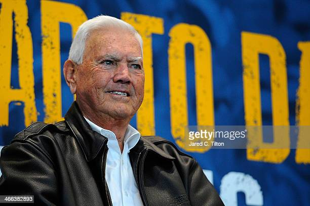 Hall of Famer Junior Johnson speaks on stage during NASCAR Hall of Fame Fan Appreciation Day at NASCAR Hall of Fame on February 1 2014 in Charlotte...