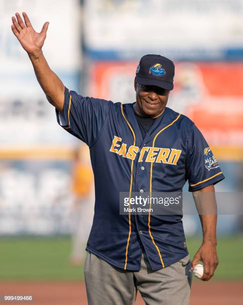 Hall of Famer Ken Griffery Sr throws out the first pitch before the 2018 Eastern League All Star Game at Arm Hammer Park on July 11 2018 in Trenton...