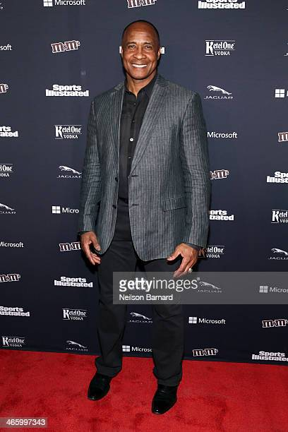Hall of Famer Lynn Swann attends the Sports Illustrated MVP Night with Lynn Swann and Jaguar at The Diageo Liquid Cellar on January 30 2014 in New...