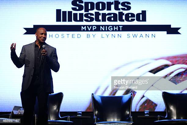 Hall of Famer Lynn Swann speaks onstage at the Sports Illustrated MVP Night with Lynn Swann and Jaguar at The Diageo Liquid Cellar on January 30 2014...