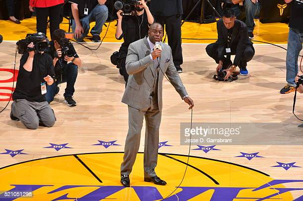 Hall of famer Magic Johnson of the Los Angeles Lakers addresses the crowd prior to the game against the Utah Jazz on April 13 2016 at STAPLES Center...