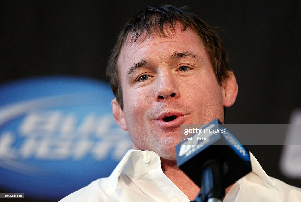 Hall of Famer Matt Hughes announces his retirement from fighting during the UFC on FOX press conference on January 24, 2013 at the United Center in Chicago, Illinois.