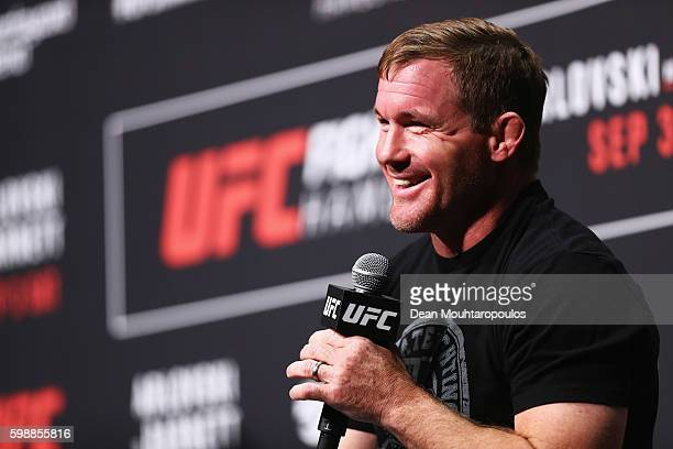Hall of Famer Matt Hughes answers questions for fans and media during a QA before the UFC Fight Night Weighin held at Barclaycard Arena on September...