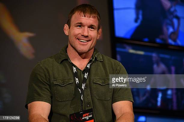 Hall of Famer Matt Hughes interacts with fans during a UFC Fight Week Party at Lagasse's Stadium on July 5 2013 in Las Vegas Nevada