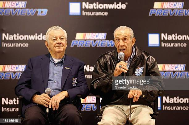 Hall of Famer members Bobby Allison and Ned Jarrett speak to fans during the NASCAR Preview at the NASCAR Hall of Fame on February 9 2013 in...