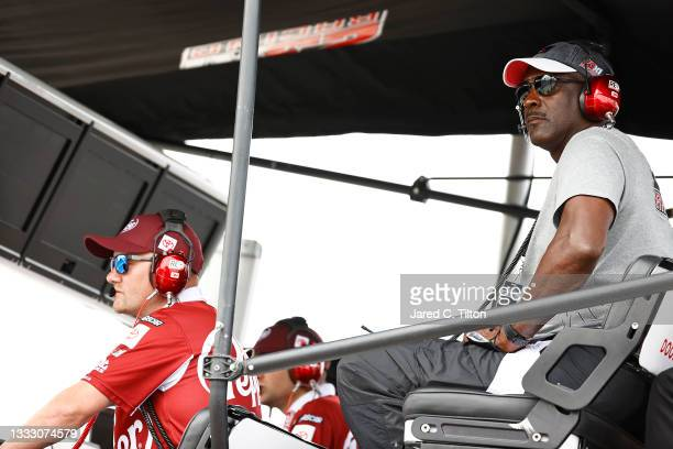 Hall of Famer Michael Jordan and co-owner of 23XI Racing looks on from the 23XI Racing pit box during the NASCAR Cup Series Go Bowling at The Glen at...