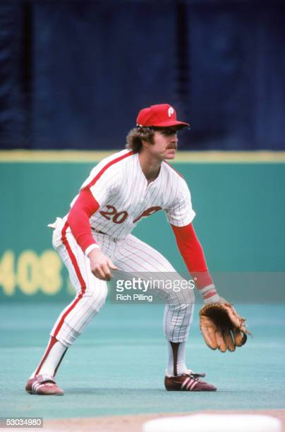 Hall of Famer Mike Schmidt of the Philadelphia Phillies focuses on home plate as he prepares for a play during a 1978 season game Schmidt played for...