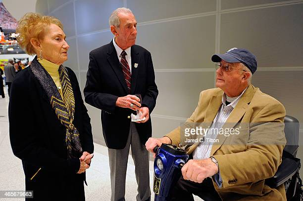 Hall of Famer Ned Jarrett and his wife Martha speak with NASCAR Hall of Fame inductee Maurice Petty during NASCAR Sprint Media Tour at the NASCAR...